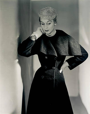 Photograph - Model Wearing A Ben Gershel Coat by Horst P. Horst