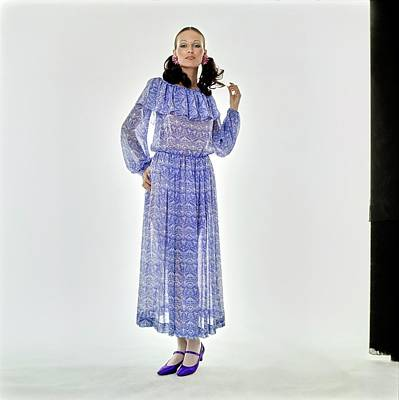 Photograph - Model Wearing A Blue Chloe Dress by Arnaud de Rosnay