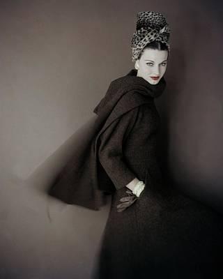 Photograph - Model Wearing A Brown Tweed Dress by Karen Radkai