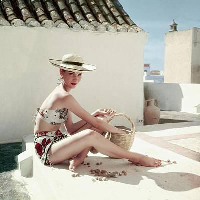 Swimwear Photograph - Model Wearing A Calypso Patterned Bikini by Henry Clarke