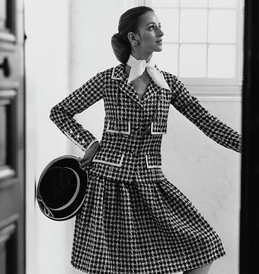 Updo Photograph - Model Wearing A Chanel Suit by Henry Clarke