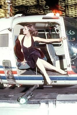 Cross Legged Photograph - Model Wearing A Chester Weinberg Dress by Kourken Pakchanian