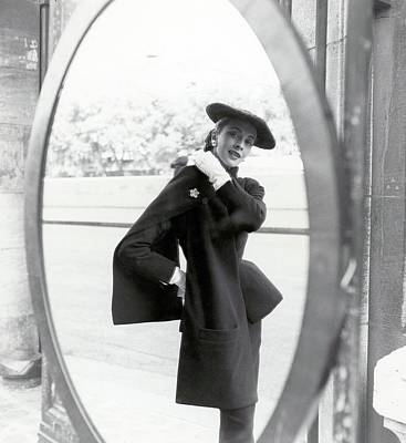 Christian Dior Photograph - Model Wearing A Christian Dior Suit by Richard Rutledge