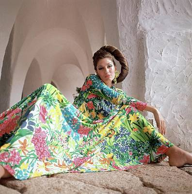 Photograph - Model Wearing A Floral Dress by Henry Clarke