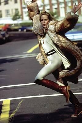 Photograph - Model Wearing A Fur Coat by Arthur Elgort