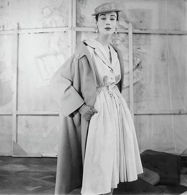 Photograph - Model Wearing A Givenchy Coat by Henry Clarke