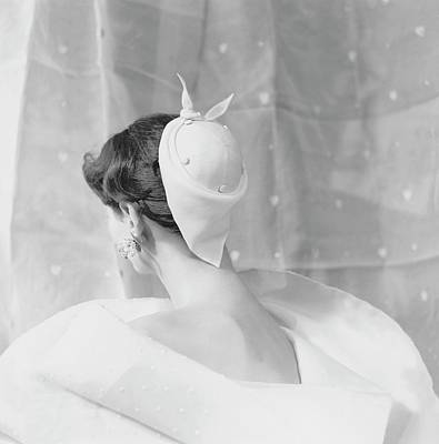 Handkerchief Photograph - Model Wearing A Givenchy Hat by Henry Clarke