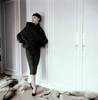 Dior Photograph - Model Wearing A Gray Tweed Sheath Dress By Dior by Henry Clarke