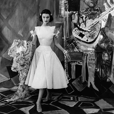 Full Skirt Photograph - Model Wearing A Gres Dress by Henry Clarke