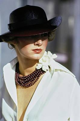 Photograph - Model Wearing A Hat And Beads by Arthur Elgort