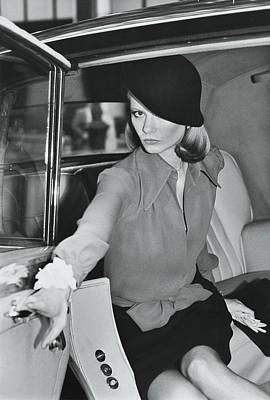 Cloche Hat Photograph - Model Wearing A Hat And Blouse In A Rolls Royce by Kourken Pakchanian