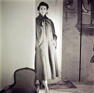 Photograph - Model Wearing A Hattie Carnegie Coat by Horst P. Horst