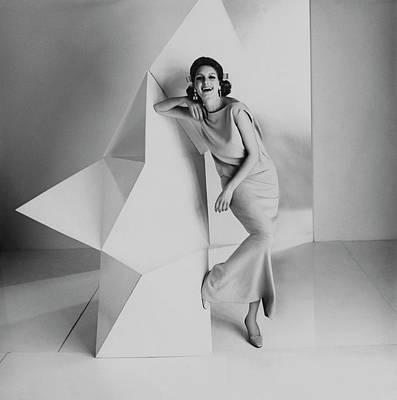 Studio Art Jewelry Photograph - Model Wearing A Jerry Silverman Dress by Karen Radkai