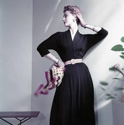 Model Wearing A Jersey Dress Art Print