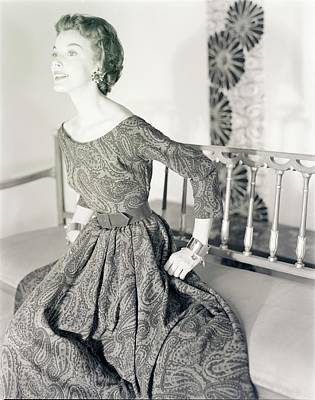 Photograph - Model Wearing A Junior Sophisticates Dress by Horst P. Horst