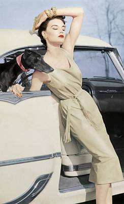 Dog Jewelry Photograph - Model Wearing A Kidskin Dress Leaning On A Car by Richard Rutledge
