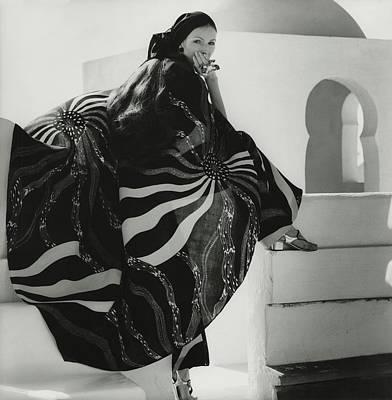 Model Wearing A Lino Cape Art Print