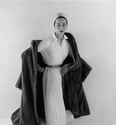 Model Wearing A Mink Coat Art Print
