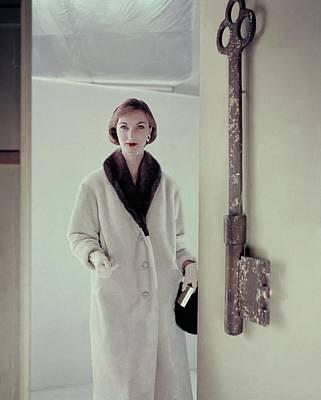 Model Wearing A Mink Collared Coat Art Print