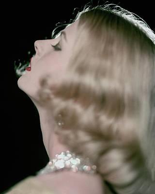 Woman Head Photograph - Model Wearing A Necklace By Schreiner by Karen Radkai