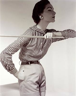 Button Down Shirt Photograph - Model Wearing A Nelly De Grab Shirt And Shorts by Horst P. Horst