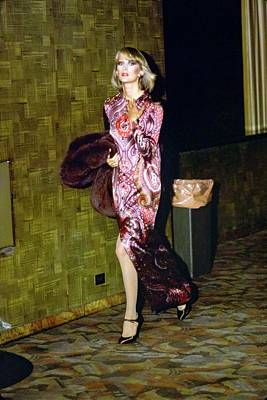 Photograph - Model Wearing A Paisley Gown by Arthur Elgort