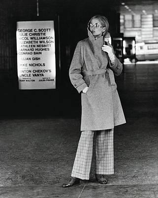 Model Wearing A Pendleton Wrap Coat Art Print