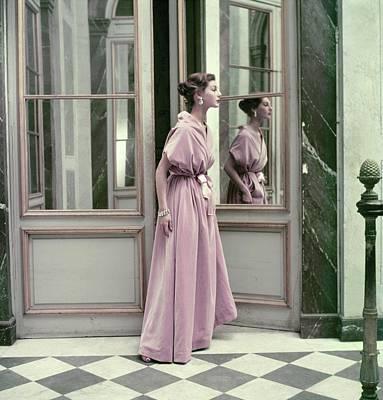 Model Wearing A Pink Gown By Balenciaga Art Print