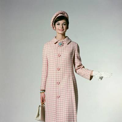 Model Wearing A Pink Hounds Tooth Coat Art Print