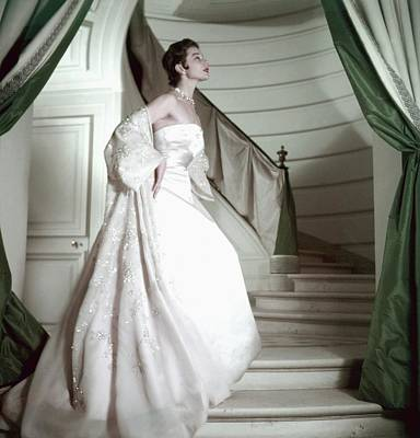 Photograph - Model Wearing A Pink Strapless Gown From Dior by Henry Clarke