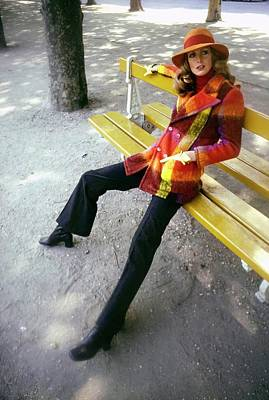 Photograph - Model Wearing A Plaid Coat by Arnaud de Rosnay