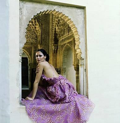 Photograph - Model Wearing A Purple Dress by Raymundo de Larrain