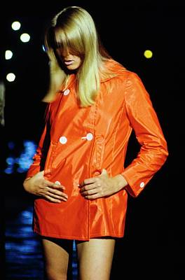 Model Wearing A Red Jacket Art Print by Sante Forlano
