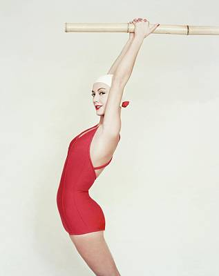 1950s Fashion Photograph - Model Wearing A Red Maillot by Richard Rutledge
