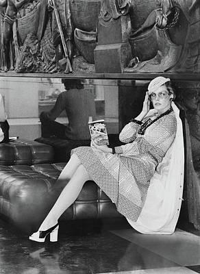 Cross Legged Photograph - Model Wearing A Shannon Rodgers Dress by Kourken Pakchanian