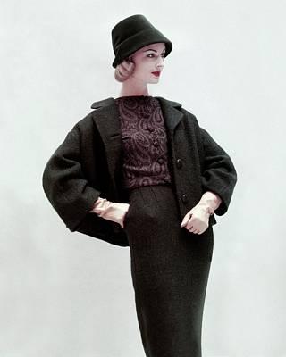 Model Wearing A Skirt Suit Art Print