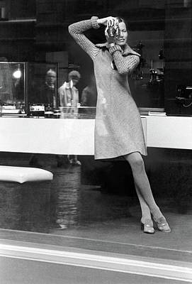 Fashion Photography Photograph - Model Wearing A Stan Herman Dress Taking by Kourken Pakchanian