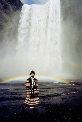 Photograph - Model Wearing A Striped Outfit by John Cowan