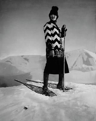 Winter Landscape Photograph - Model Wearing A Striped Sweater On Snow by Edward Steichen