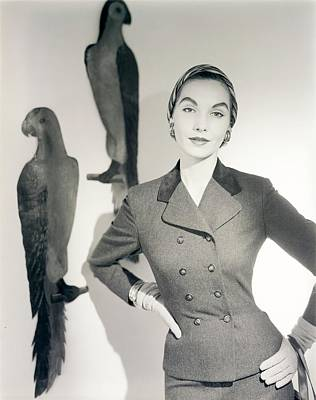 Studio Art Jewelry Photograph - Model Wearing A Suit by Horst P. Horst