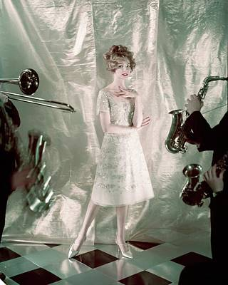 Gold Dress Photograph - Model Wearing A Trapeze Dress From Dior by Henry Clarke