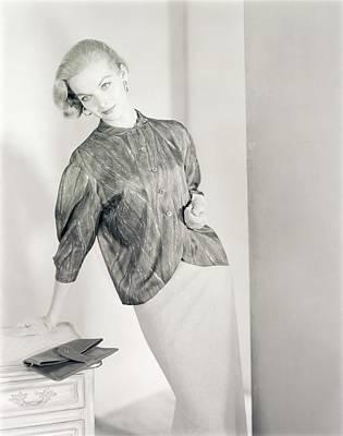 Model Wearing A Tudor Square Jacket And Skirt Art Print