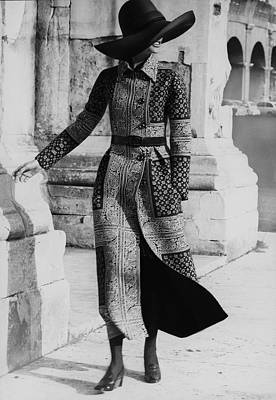 Valentino Photograph - Model Wearing A Valentino Coat by Henry Clarke