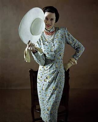 Salvador Dali Photograph - Model Wearing A Vogue Pattern Dress by Richard Rutledge
