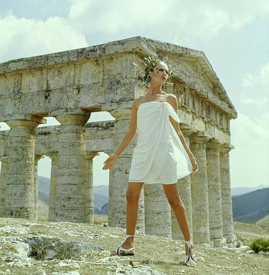 Photograph - Model Wearing A White Culotte Wrap by Henry Clarke