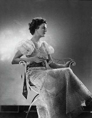 Cross Legged Photograph - Model Wearing A White Eyelet Dress by Edward Steichen