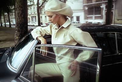Photograph - Model Wearing A White Kenzo Ensemble by Arnaud de Rosnay