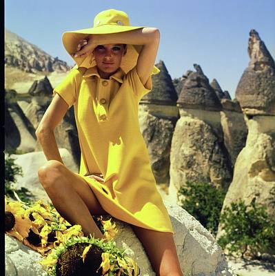 Photograph - Model Wearing A Yellow Ensemble by Henry Clarke