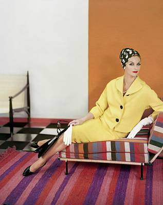 Photograph - Model Wearing A Yellow Suit by Henry Clarke