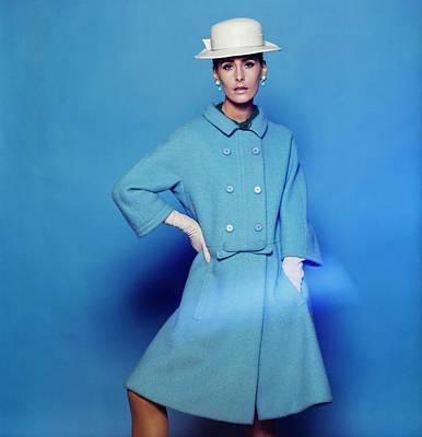 Photograph - Model Wearing A Zelinka-matlick Coat by Bert Stern